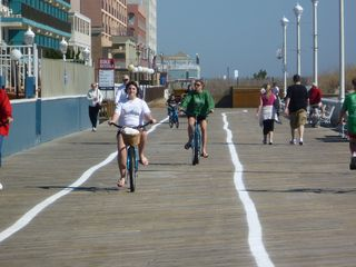 Bel Mare Ocean City condo photo - Riding bikes on the boards. Bring your own or rent.