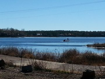 Pinetop house rental - Lake view from back deck. 5 min walk to Rainbow Lake boat rental.