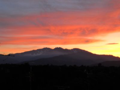 from the terrace : sunset on the Canigou