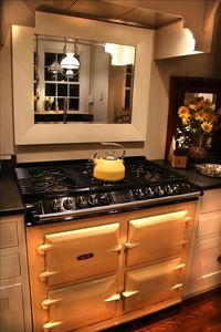 Our beautiful English Aga range with six burners and 4 ovens