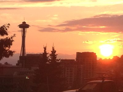 Seattle apartment rental - The view of the Space Needle from Harrison Street