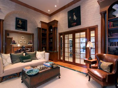 Delray Beach estate rental - Lounge and Library room with fireplace