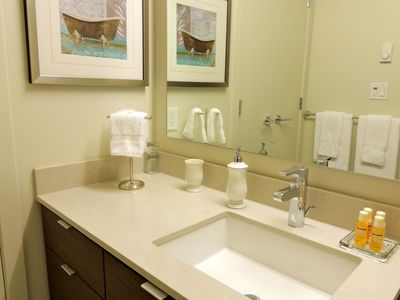 Spotlessly clean bathroom with vanity