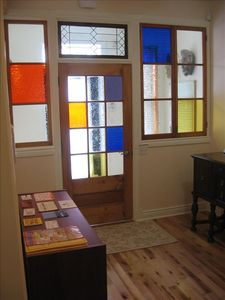 COLOURED GLASS IN ENTRANCE