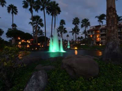 Kam Sands twilight fountain view looking back at the lanai!