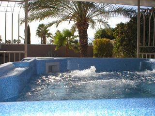 Palm Springs house photo - Large Private Hot Tub to Melt Away the Day. Lovely Desert Scape, Mountain Views.