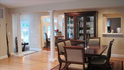Great room addition with dining room and looking towards the foyer and breakfast