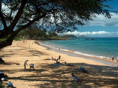 Kamaole Two  beach is at your feet, semi private, less crowded than Kamaole One