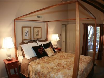 Front Bedroom with Queen Bed and Vaulted Ceiling