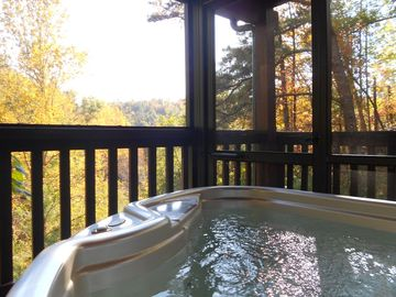 Pigeon Forge cabin rental - Hot tub views of the Fall Foliage in the Smoky Mountains
