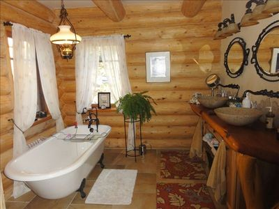 Master bath with claw foot tub and shower, 2 sinks
