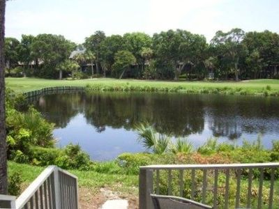 View from the outdoor porch of the lagoon and the 18th green