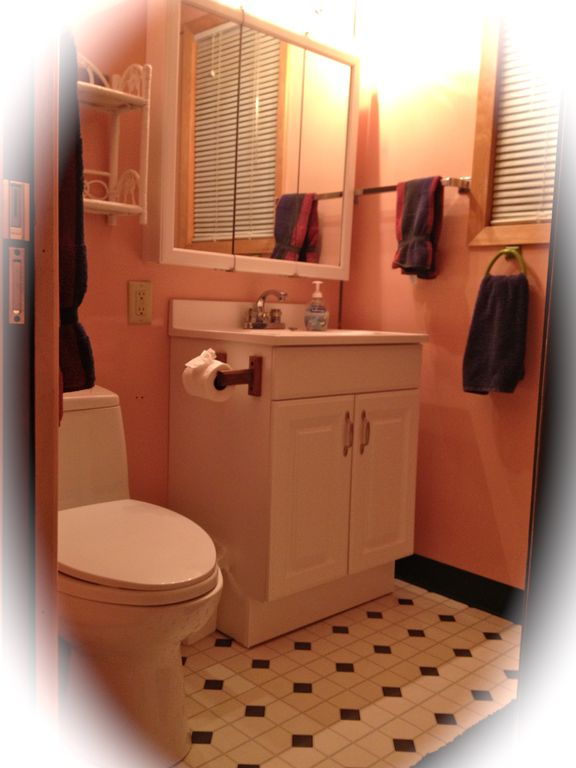 Bathroom #1 with toto toilet,vanity and tub/shower unit.