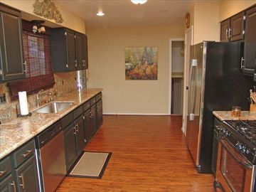 Fully Equipped Kitchen, granite counter tops, SS appliances, pots&pans