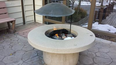 Gas fire pit at the Park Place hot tub area