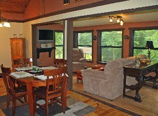 Ellijay cabin photo - Living room and dining from kitchen