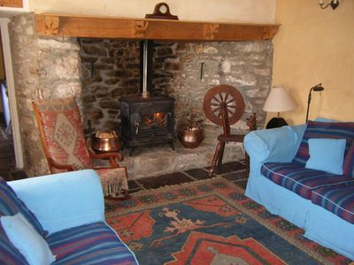 River Cottage living room with fireplace
