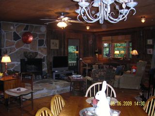 Meadows of Dan cabin photo - Stone Hearth w Gas Stove, TV and Living Area