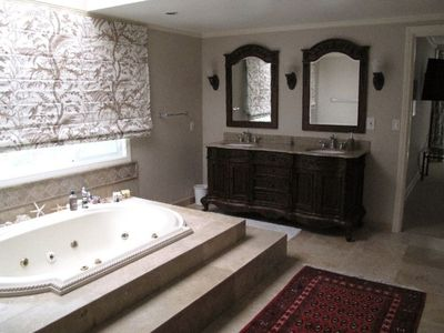 Master Bathroom with His & Hers Areas, Large Soaking Tub, Shower, and 3 Sinks