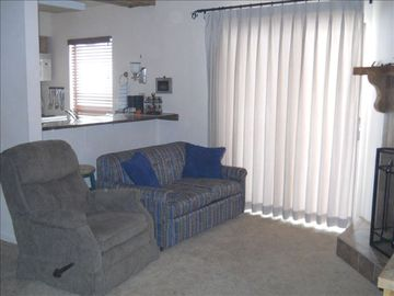 Twin Sleeper Sofa, Recliner, custom, lined drapery.