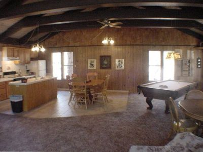 Upstairs kitchen, dinning area and pool table