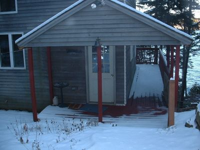 Orrs Island cottage rental - Entrance to Cottage after a winter's snow