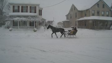 One horse open sleigh on Main Street in Terre Hill during a rare winter storm