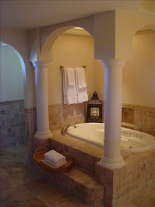 First master bath w/ double sinks, columned Jacuzzi tub & separate stone shower