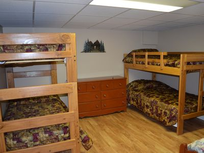 Third Bedroom with two bunk beds and one full bed.