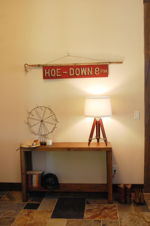 Large entryway to store your cowboy boots, horse helmets, fishing poles, etc.