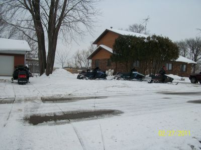 Plenty of parking for snowmobiles and trailers.
