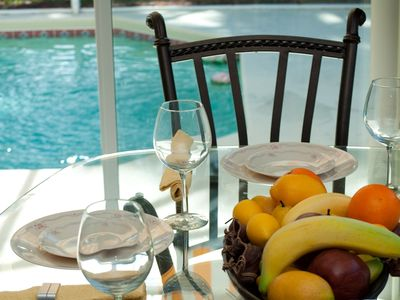 Dining with a pool view