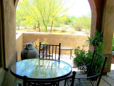 Private back yard patio with multiple seating areas. Great Golf views