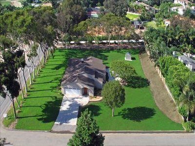 Aerial photo - Property now enclosed with beautiful split rail/chain link fence