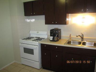 Plenty of counter space and gourmet coffee machine with steamer!