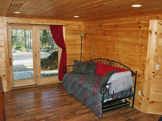 Harrison cabin photo - Lower level family room with day bed and trundle, tv, Wii, dvd