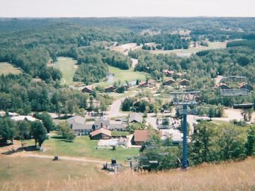 View of Schuss Village from top of Ski Hill
