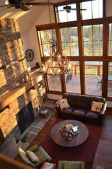 Georgetown Lake house photo - Enjoy the fire and the view, or play a board game around the big coffee table.