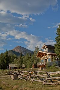 Hahns Peak in the distance with our custom timber-framed home in the foreground.