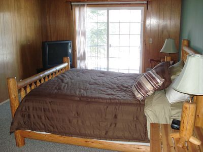 Tahoe Keys house rental - Upstairs bedroom, King size bed, balcony, and own TV