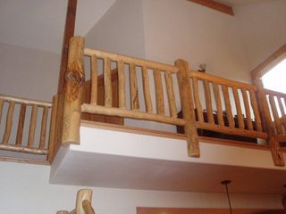 Florissant cabin photo - Custom log railing