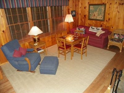 Den with fireplace, TV, VCR/DVD