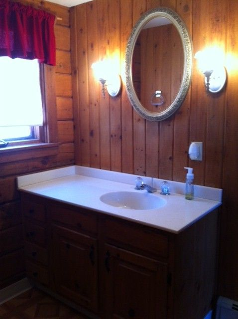 First floor bathroom with brand new oversize shower.