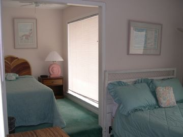 Bedroom with Full and Twin Beds and full bath.