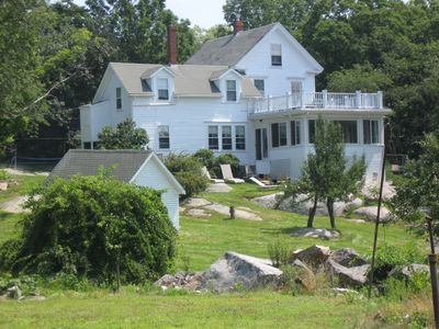 Rockport house rental - House looks west over property to Folly Point