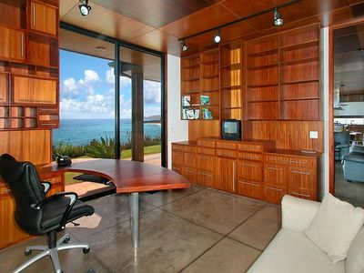 Honduras mahogany office/library with simply stunning views of the Pacific.
