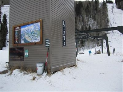 The condo is at the base of chair 7. Ride up or download from the top.
