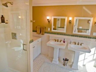 Vineyard Haven house photo - Master Bath Features Double Pedestal Sinks & Walk-in Glass Door Rain Shower
