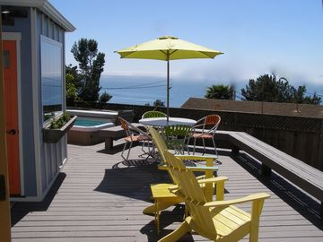Summerland cottage rental - view of studio, relax in the sun, BBQ or relax in the spa, all with Ocean views.