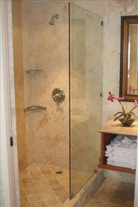 Master Bathroom-Beautiful large coral stone shower